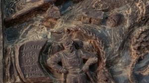 La scultura di cioccolato di Giulio Jaquemod dedicata alla pista 3 Franco Berthod di La Thuile, teatro di coppa del mondi di sci femminile 20 e 21 febbraio 2016